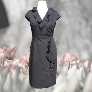 Crossover Ruffled Sheath Dress Cap Sleeve Pockets